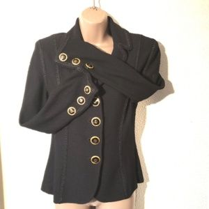 ST. JOHN Collection vintage black knit blazer sz 6